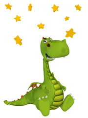Cartoon 3d Dragon with stars
