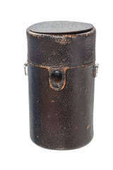 Black leather case of keeping camera lens