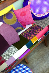Patchwork cushions on a sofa