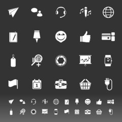 Technology gadget screen icons on gray background