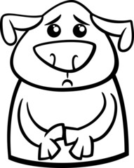 sad dog cartoon coloring page