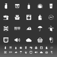 Laundry related icons on gray background