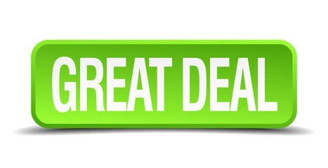 great deal green 3d realistic square isolated button