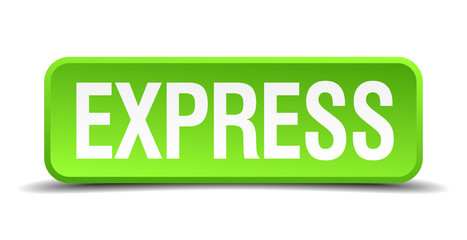 Express green 3d realistic square isolated button