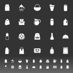 Variety food package icons on gray background