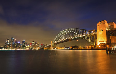 Sydney CBD Bridge Milsons sunset