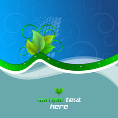 Background with ecological theme, green leaves and water drops