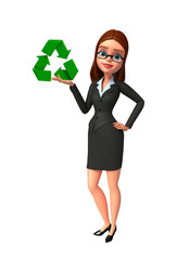 Young Business Woman with recycle sign