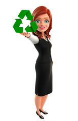 Young Business Woman with recycle icon