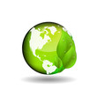 Ecological theme background with green leaves and globe