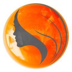 silhouette de jeune femme sur bouton orange