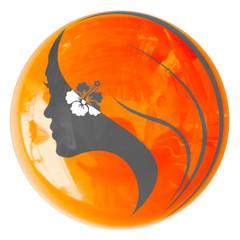 silhouette de jeune femme sur bouton