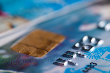 Close up of blue credit card with chip
