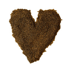 Heart of coffee grounds