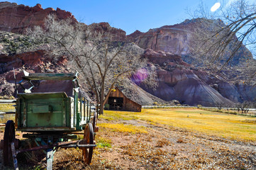 Old Barn and carriage in the Capitol Reef National Park, Utah