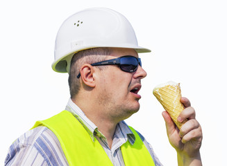 Worker with ice cream on a white background