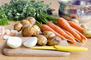Raw vegetable for soup