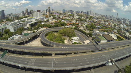 Transportation in Bangkok at elevated expressways. Time-lapse.