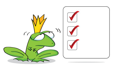 Business frog with a blank sign. Checklist.