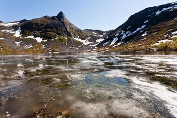 Frozen pond on Senja island.