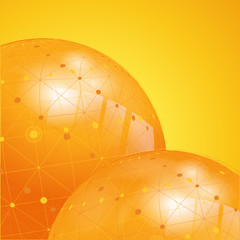 orange  network globe background