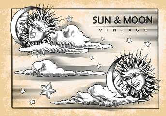 The moon, sun, clouds. Set of vintage elements