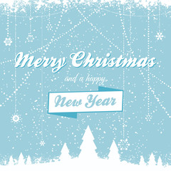 Christmas vector background with message bue