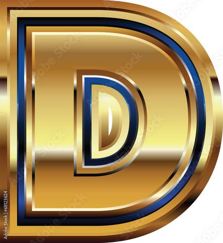 Golden Font Letter D
