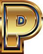 Golden Font Letter P