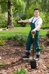 Gardener presenting his garden