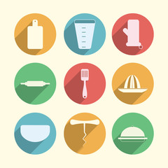 Flat circle icons for kitchenware
