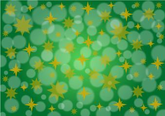 Hintergrund grün mit Sternen und Schneefall