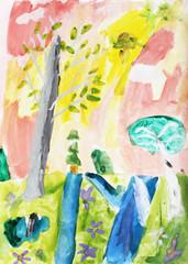 colorful landscape: trees, rivers, flowers, grass, sun