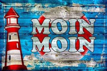 Moin Moin - Holzschild