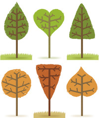 Six trees of various shapes on a white background