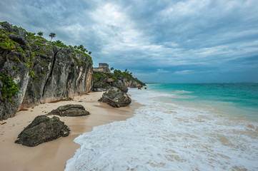 White sand beach and ruins of Tulum, Yuacatan, Mexico