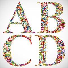 Ornate alphabet letters A B C D.