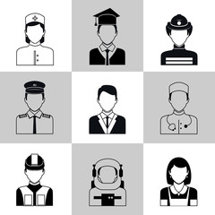 Professions avatar icons black set