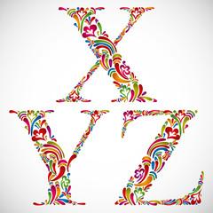 Ornate alphabet letters X Y Z.