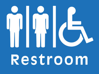 sign restroom, blue