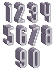 3d geometric numbers set.