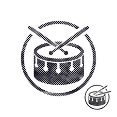 Drum snare icon with halftone dots print texture.
