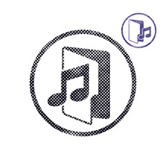 Music folder icon with halftone dots print texture.