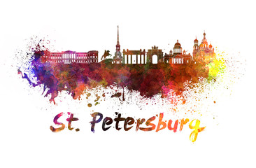 Saint Petersburg skyline in watercolor