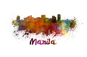 Manila skyline in watercolor