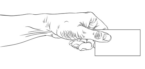 Hand giving business card, detailed black and white lined vector