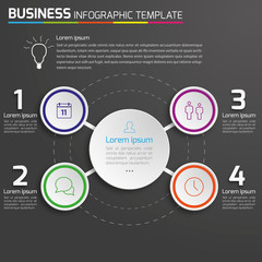 4-Step process infographics dark vector background