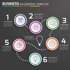 6-Step way process infographics dark vector background