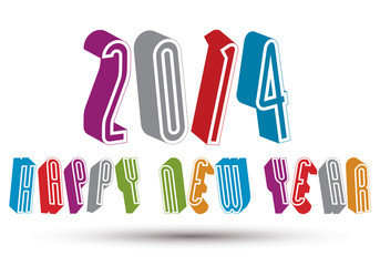 2014 Happy New Year card with phrase, 3d retro style