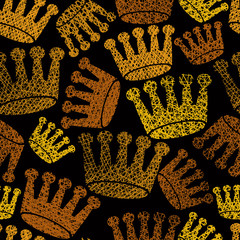 Golden crowns seamless pattern, repeating vector background with